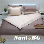 Спално бельо памучен сатен - капучино и светла праскова