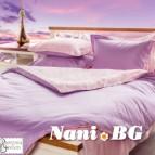 Спално бельо памучен сатен - люляк и розово