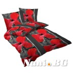 Спално бельо памучен сатен - Макове II