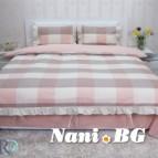 Двоен спален комплект естествен лен - праскова