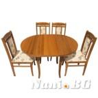 Трапезна маса Елипса НИНА + 4 стола ЛЮСИ