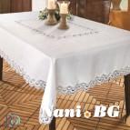Покривка за маса жакард с дантела - бяла