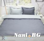 Спално бельо памучен сатен - Тъмно сиво и светло сиво
