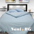 Спално бельо памучен сатен - Светло синьо
