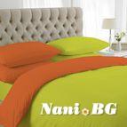 двуцветно спално бельо - жълто-оранж