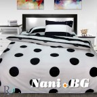 Спално бельо памук щампа - Точки с райе