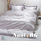Луксозен спален комплект с жакард и бродерия - Рона Сиво