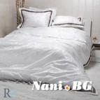 Луксозен спален комплект с жакард и бродерия - Рона бяло
