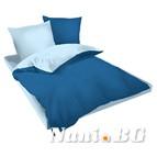 Двулицев спално бельо Ранфорс синьо-светло синьо