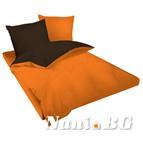 Двулицев спално бельо Ранфорс оранжево-кафяво