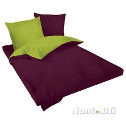 Двулицев спално бельо Ранфорс тъмно виолетово - зелено
