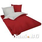 Двулицев спално бельо Ранфорс бордо-сиво