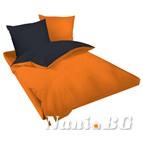 Двулицев спално бельо Ранфорс оранжево-черно