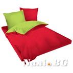 Двулицев спално бельо Ранфорс червено-зелено