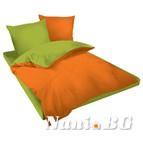 Двулицев спално бельо Ранфорс оранжево-зелено