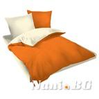 Двулицев спално бельо Ранфорс оранжево-екрю