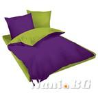 Двулицев спално бельо Ранфорс лилаво-зелено