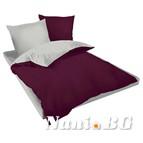 Двулицев спално бельо Ранфорс тъмно виолетово - сиво
