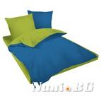 Двулицев спално бельо Ранфорс синьо-зелено
