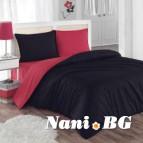 Двулицево спално бельо - черно/червено