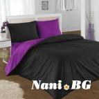 Двулицево спално бельо - черно/лилаво