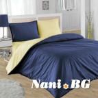 Двулицево спално бельо - тъмно синьо/светло жълто