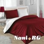 Двулицево спално бельо - бордо/бяло
