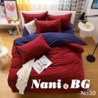 Двулицево спално бельо - бордо/тъмносиньо