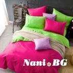 Двулицево спално бельо - циклама/зелено