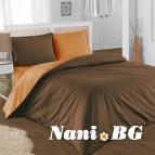 Двулицево спално бельо - кафяво/оранж
