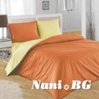 Двулицево спално бельо - оранж/екрю