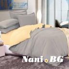 Двулицево спално бельо - светло сиво/екрю