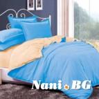 Двулицево спално бельо - светло синьо/екрю