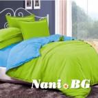 Двулицево спално бельо - зелено/светло синьо