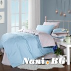 Двулицево спално бельо - светло синьо/сиво