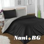 Двулицево спално бельо - черно/графитено сиво