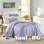 Двулицево спално бельо сатен - светло лилаво/бяло
