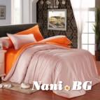 Двулицево спално бельо сатен - светло розово/оранжево