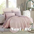 Двулицево спално бельо сатен - светло розово/ лилаво