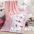Бебешко спално бельо с одеяло бамбук - Love Bunny