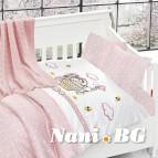 Бебешко спално бельо с одеяло бамбук - Кити пинк