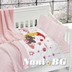 Бебешко спално бельо с одеяло бамбук - Слипър Пинк