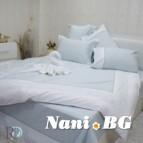 Двоен спален комплект с дантела Сиси - аква бяло