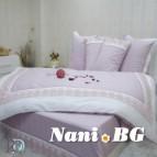 Двоен спален комплект с дантела Сиси - лила бяло