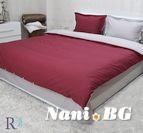 Спално бельо памучен сатен - бордо и сиво