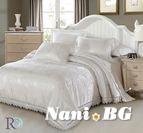 Луксозно спално бельо жакард и дантела Палома - бяло