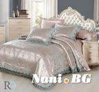 Луксозно спално бельо жакард и дантела Алекса - тюркоаз
