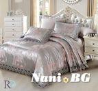 Луксозно спално бельо жакард и дантела Алекса - сиво розово