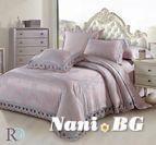 Луксозно спално бельо жакард и дантела Алекса - лила сиво