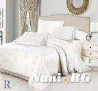 Луксозно спално бельо жакард и дантела Алекса - бяло